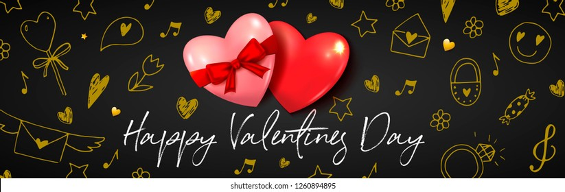 Happy Valentines day banner with 3d realistic hearts. Doodle sketch heart, envelope, flowers. Romantic holiday black vector background. Top view. Red and golden elements.