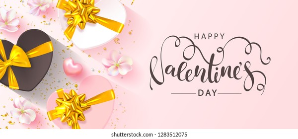 Happy Valentine's Day banner. Beautiful blue Background with flowers, hearts and gift boxes. Vector illustration for postcards,posters, coupons, promotional material.
