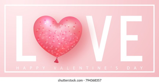 Happy Valentines day banner. Beautiful Background with heart shaped air balloon. Vector illustration for website , posters, email and newsletter designs, ads, coupons, promotional material.