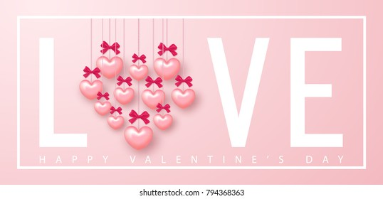 Happy Valentines day banner. Beautiful Background with Hearts and bows. Vector illustration for website , posters, email and newsletter designs, ads, coupons, promotional material.