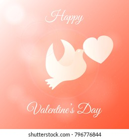 Happy Valentines Day Banner. Gift, Greeting Card with Dove and Heart in Sky. Flat Vector Illustration.