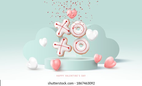 Happy Valentine's Day banner. Holiday background with white and pink hearts, round stage, realistic XO cookies and confetti. Vector illustration with 3d render object.