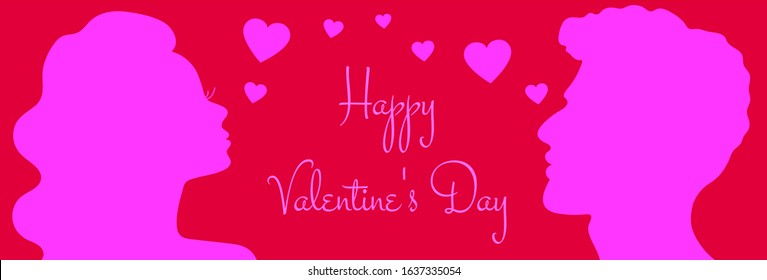 Happy Valentine's Day banner with pink silhouette of man and woman looking at each other with hearts flying between them on red background. Minimalistic design, Romance, Family concept vector.