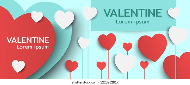 Happy Valentines day banner postcard vintage lettering background design elements cut paper heart style.Vector illustration.