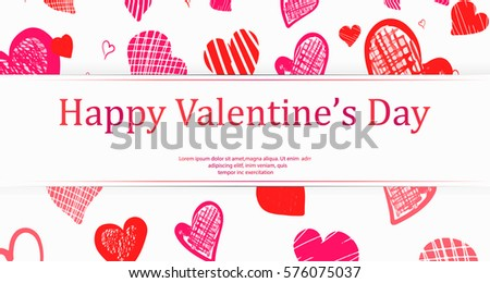 Happy Valentines Day Banner Template Flyer Stock Vector Royalty