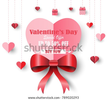Happy Valentines Day Banners Discount Offer Stock Vector Royalty