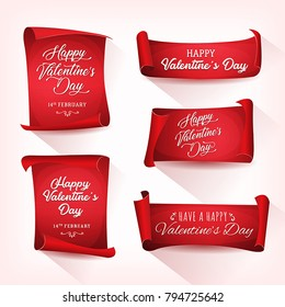 Happy Valentine's Day Banners/ Illustration of a set of happy valentine's day wishes, on red parchment scrolls with elegant delicate lettering