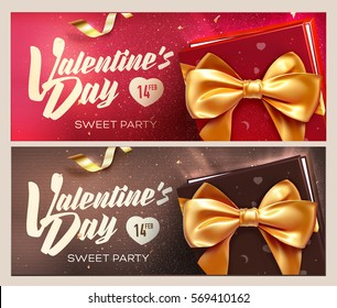 Happy Valentine's Day banners. Top view on gift box and bow with beautiful backdrop. Vector illustration