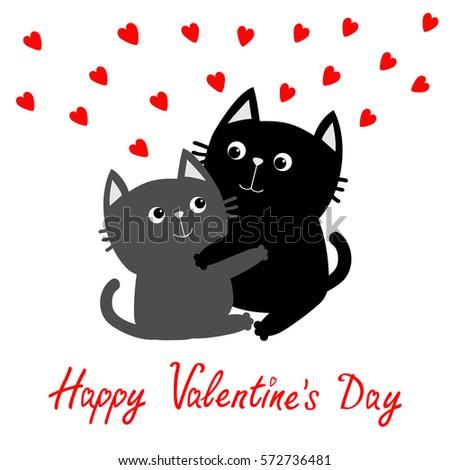 55a87e520c1 Happy Valentines Day Black Gray Cat Stock Vector (Royalty Free ...
