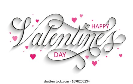 HAPPY VALENTINE'S DAY black vector copperplate calligraphy with swashes and pink hearts