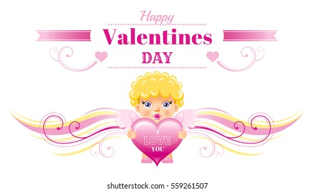 Happy Valentines day border, Cupid character heart. Romance, love text letter, isolated frame white background. Cute romantic Valentine banner vector illustration. Abstract design. Flat cartoon sign