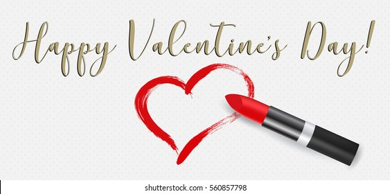 Happy Valentine's Day calligraphic phrase, red lipstick and heart, vector illustration. Woman's cosmetic and romantic concept.