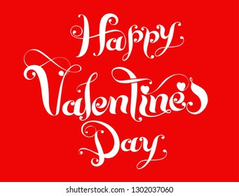 Happy Valentine's Day calligraphic wishes with hearts on red background.