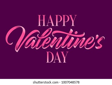 happy Valentine's day, calligraphy, lettering, handwritten text, greeting card
