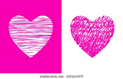 Happy Valentine's day card, background with doodle hearts, pink color.