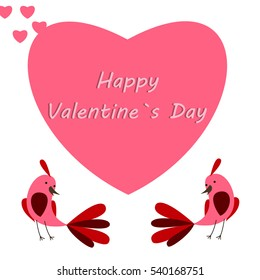 Happy Valentine's day card with birds. Vector illustration.
