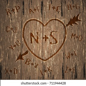 Happy Valentine's Day card. Carved heart in a tree with initials. Vector illustration
