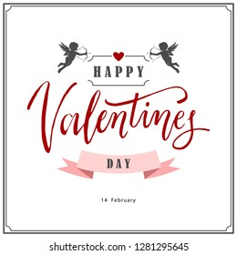 Happy Valentine's day card with cupids. Valentine's day logo, symbol, sign, icon. Celebration of 14th february.
