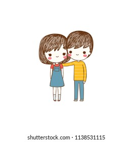 Happy valentine's day card with cute girl and boy hugging and in love, Love card, greeting card, poster, party invitation. Flat design. Colored vector illustration.