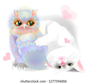 Happy Valentines Day card with cute Cat and owl. Cat and owl are friends.