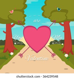 Happy Valentines Day card with cute bird couple. Vector illustration
