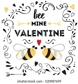 Happy valentines day card with cute positive quote 'Bee my Valentine' decorated love bee, arrow, hearts and doodle ornament on white background