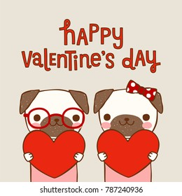 Happy valentine's day card with cute cartoon pugs, girl and boy holding red big heartand text. Love card, postcard, greeting card, poster, party invitation. Flat design. Colored vector illustration.