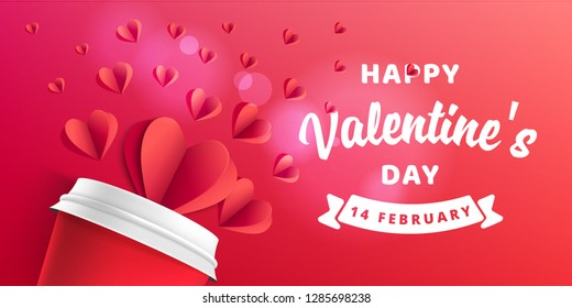 Happy Valentines Day Card Design. Valentines Day banner template with red paper heart. Realistic 3D mock up web banner vector eps 10 design.