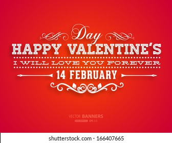 Happy Valentines Day Card Design. 14 February. I Love You. Vector