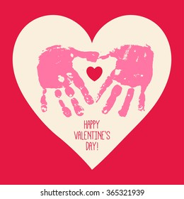 Happy Valentine's Day card design with handprint heart. Heart hands. Children handprint art. Kids craft. Vector eps 10 illustration