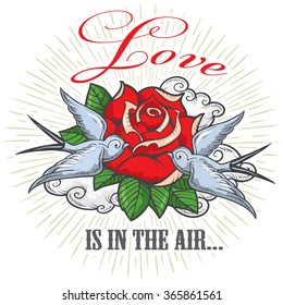 Happy Valentines Day card design with red rose, swallows and text. Isolated on transparent background. Easy to edit.