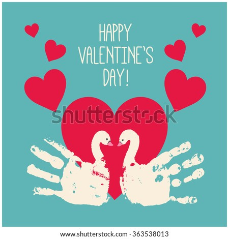 Happy Valentines Day Card Design Handprint Stock Vector Royalty