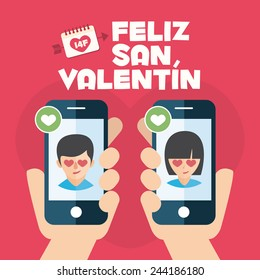 Happy Valentines day card. Hands with couple mobiles