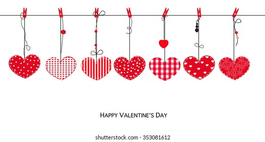 Happy Valentines Day card with hanging Love Valentines hearts vector background