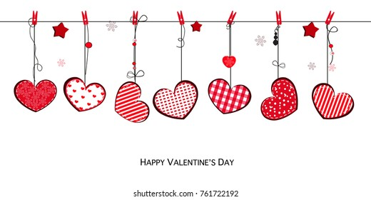 Happy Valentines Day card with hanging Love Valentines cute red hearts background