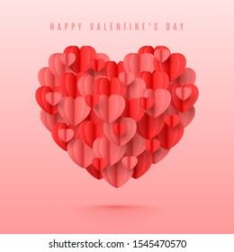 Happy Valentine's Day card. Holiday banner with 3d red and pink paper hearts in paper art style. Festive vector illustration with flying holiday symbol.