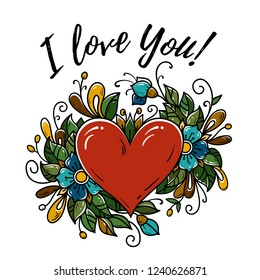 Happy Valentines day card. I love you. Vector illustration with red heart, blooming flowers, green leaves, buds.