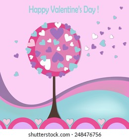 Happy valentines day card with love tree
