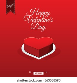 Happy Valentine's day card and love button, vector background