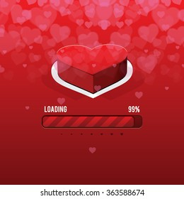 Happy Valentine's day card and love button and loading Valentine's day, vector background