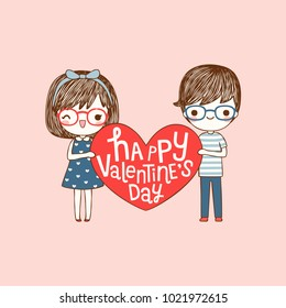 Happy valentine's day card with lovely couple young cute girl and boy holding red big heart and smiling to each other. Love card. Isolated on pink background. Flat design. Colored vector illustration.
