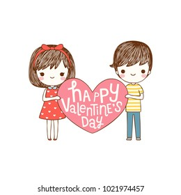 Happy valentine's day card with lovely couple young cute girl and boy holding pink big heart and smiling to each other. Love card. Isolated on white background. Flat design. Vector illustration