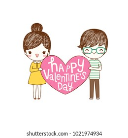 Happy valentine's day card with lovely couple young cute girl and boy holding pink big heart and smiling to each other. Love card. Isolated on white background. Flat design. Vector illustration.