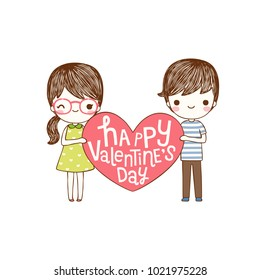 Happy valentine's day card with lovely couple young cute girl and boy holding red big heart and smiling to each other. Love card. Isolated on white background. Flat design. Vector illustration.
