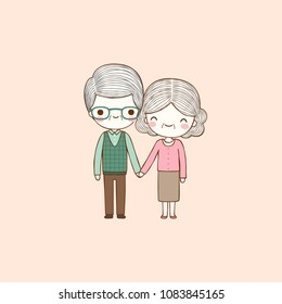Happy valentine's day card with lovely old couple cute man and woman holding hands and smiling to each other. Valentine's day card. Flat design. Vector illustration.