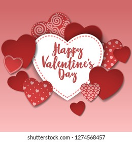Happy Valentine's day card with paper hearts