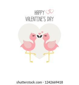 Happy Valentine's day card with pink flamingos in love.