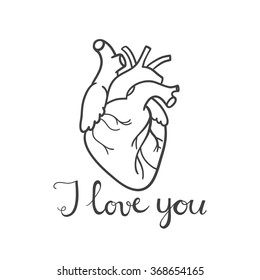 Happy valentine's day card with real heart and typography. I love you
