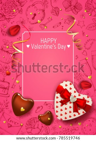 Happy Valentines Day Card Realistic Rose Stock Vector Royalty Free