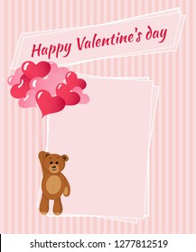 Happy Valentine's Day card. Romantic vector cards template. Place for text. Beautiful love card. background. Wallpaper.
